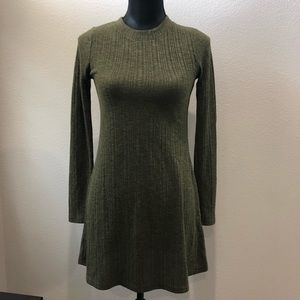 Topshop green ribbed long sleeve sweater dress